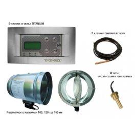 RT8PTD Kominek Lux TITANIUM DESIGN 100-Sterownik kominka z płaszczem wodnym z przepustnicą powietrza 100mm
