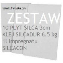 Zestaw SILCA 10 płyt 3cm Klej6.5kg oraz Impregnat